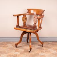 Oak Revolving Office Desk Chair (9 of 10)
