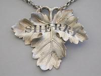 Large William IV Cast Silver Vine Leaf Wine Label 'Sherry' by Benjamin Smith, London, 1836