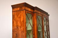 Antique Yew Wood  Sheraton Style Breakfront Bookcase (11 of 12)