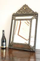 Dutch Repousse Brass Cushion Framed Mirror with Arched Crest (9 of 12)