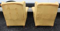 Pair 1940s Mahogany Wingback Armchairs Upholstered in Gold (2 of 3)