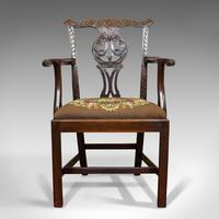 Antique Carver Chair, English, Mahogany, Needlepoint, Elbow, Chippendale Style (12 of 12)