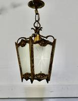 French Brass & Etched Glass Lantern Hall Light (5 of 6)