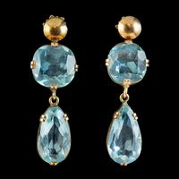 Antique Edwardian Blue Paste Earrings 9ct Gold Screw Backs c.1905 (5 of 5)