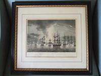 """19th Century Engraving """"The Bombardment of Algiers, Aug.t 27th 1816"""" from Jenkins """"Naval Achievements of Great Britain"""" 1817"""