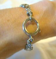 "Antique Bracelet 1890s Victorian Silver Nickel Fancy Link 7 1/2"" Length 13.6 Grams (12 of 12)"