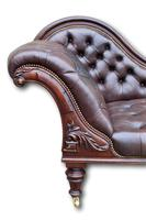 Victorian Mahogany Chaise Lounge with Button Leather Upholstery (5 of 7)