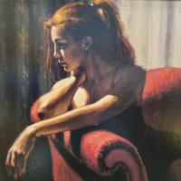"""Fabian Perez Hand Embellished Limited Edition Artists Proof Print """"rojo Sillon III"""" with Certificate of Authenticity (4 of 10)"""