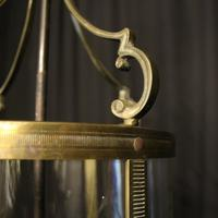 French Gilded Triple Light Antique Convex Hall Lantern (7 of 10)