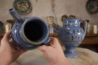 Pair of Mid 17th Century Italian Majolica Berettino Wet Drug Jars (10 of 11)