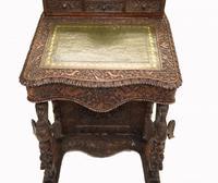 Burmese Davenport Desk Antique Hand Caved Burma Furniture 1885 (8 of 11)