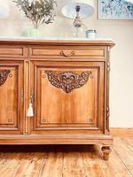 French Antique Sideboard / Walnut Buffet / Marble Cupboard (4 of 10)