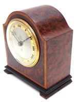 Impressive Amboyna Burr Walnut Edwardian Timepiece Mantel Clock by Dent London (4 of 10)