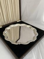 Large 893g Antique Silver Drinks Tray or Salver 1933 Birmingham Presentation Box