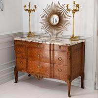 Late 19th Century French Gilt Bronze Mounted Tulipwood & Kingwood Marble Topped Commode (8 of 10)