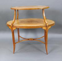 Elegant Inlaid Satinwood Étagère Two Tier Table c.1890 (2 of 6)