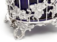 Large Victorian Silver Plated Sugar Basket with a Bristol Blue Liner (5 of 5)