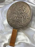 Antique 19th Century Japanese Hand Held Dragon Bronze Mirror (5 of 11)