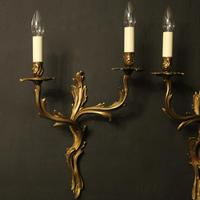 French Pair of Gilded Antique Wall Sconces (7 of 10)