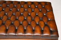 Large Antique Victorian Style Leather & Mahogany Stool / Coffee Table (5 of 8)