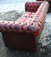 1960s Chesterfield Red Leather 3 Seater Sofa with Union Jack on Seat (2 of 3)
