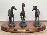 """Set 3 Small Solid Bronze Horse Racing """"The Origins of Champions"""" by Gill Parker (2 of 45)"""