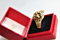 Unusual 9ct gold ring of chunky proportions depicting a well cast Bulldogs head size v (7 of 7)