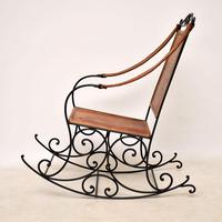 Antique Wrought Iron & Leather Rocking Chair (11 of 12)