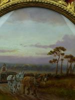 Antique Oil on Board Original Painting by G Meville - Horse & Carriage c.1880 (5 of 12)