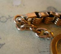 Antique Pocket Watch Chain 1890s Victorian 10ct Rose Gold Filled Albert With Key T Bar (11 of 12)