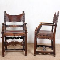 4 Dining Chairs Ships Nautical Chairs Oak Leather 19th Century (9 of 10)