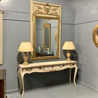 Large French Paint & Gilt Trumeau Mirror (7 of 11)