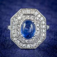 Art Deco Sapphire Diamond Cluster Ring 18ct Gold 1.50ct Sapphire 1.69ct Diamond c.1930