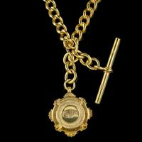 Antique Albert Chain Necklace Sterling Silver 18ct Gold Gilt Dated 1920 (2 of 9)