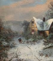 Very Large Outstanding 19th Century British Winter Snow-capped Landscape Oil Painting (4 of 13)