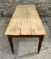 Large Antique Pine Farmhouse Table on Turned Legs (12 of 19)