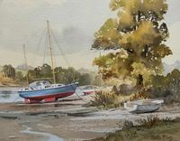 Superb Quality 20th Century Vintage Boats Estuary Seascape Watercolour Painting (4 of 11)