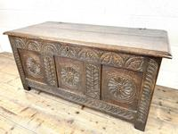 Antique 18th Century Carved Oak Coffer (3 of 10)