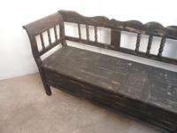 Shabby Chic Black 4 Seater Antique Pine Kitchen / Hall Box Settle / Bench (10 of 10)