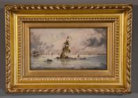 """Oil painting by Adolphe Ragon """"The Spanish Armada being fire-shipped by Sir Francis Drake at Calais"""""""