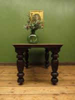 Antique Victorian Gothic Oak & Mahogany Dining or Hall Table Heavily Carved Legs (7 of 13)