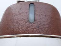 Silver Plated Palm Leather Bound Glass Hip Flask James Dixon 5/16 Pt c.1910 (11 of 12)