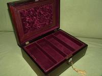 Unisex Inlaid Rosewood Jewellery Box + Tray. c1850 (3 of 13)