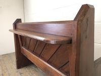 Antique Pitch Pine Church Pew with Enamel Number '37' (10 of 12)