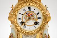 Antique French Porcelain & Gilt Mantel Clock Set (10 of 12)