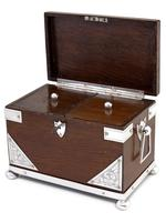 Late Victorian Oak and Silver Plate Rectangular Two Compartment Tea Caddy (2 of 8)