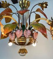 Large Florentine Ceiling Light Chandelier Toleware with Polychrome Painting (6 of 11)