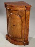 Extremely Rare Mid 19th Century  Burr Walnut Corner Standing Cupboard