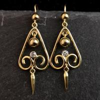Antique Victorian Diamond Drop Earrings, 15ct Gold (4 of 10)