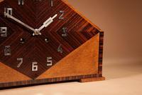 Very Stylish Typical Art Deco Amsterdam School Oak & Macassar Ebony / Coromandel Mantel Clock (6 of 8)